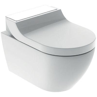 Geberit AquaClean Tuma Comfort Dusch WC Komplettset Wand WC mit Duschsitz weiss/Glas 146.290