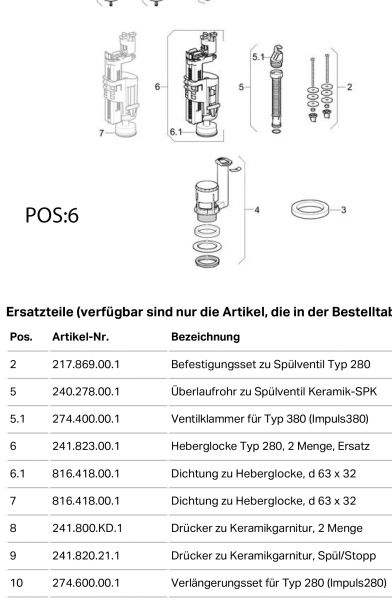 Geberit 241.823 Heberglocke für Spülkasten ab BJ.2000 für 2-Mengenspülung